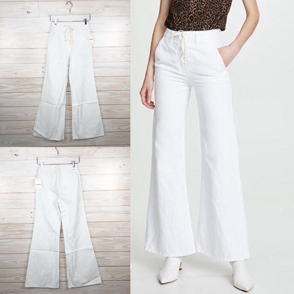 MOTHER Tie Up Roller Wide Leg Flare Jeans White